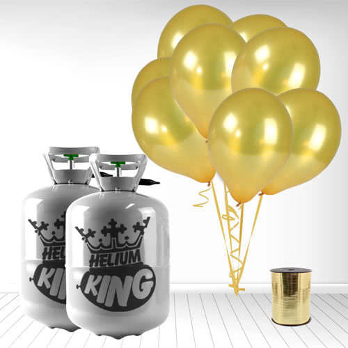 Disposable Helium Gas Cylinders with 60 Metallic Gold Balloons and Curling Ribbon Product Image