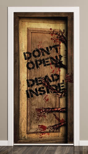 Dead Inside Halloween Door Cover PVC Party Sign Decoration 66cm x 152cm