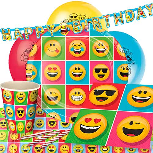 Emoji Theme Party Supplies 8 Person Delux