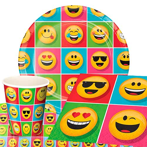 Emoji Theme Party Supplies 8 Person Value