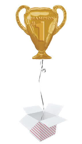 Gold Champion Trophy Helium Foil Giant Balloon - Inflated Balloon in a Box