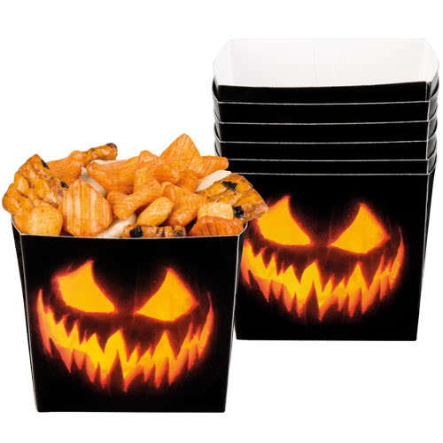 Halloween Creepy Pumpkin Paper Bowls 400ml - Pack of 6