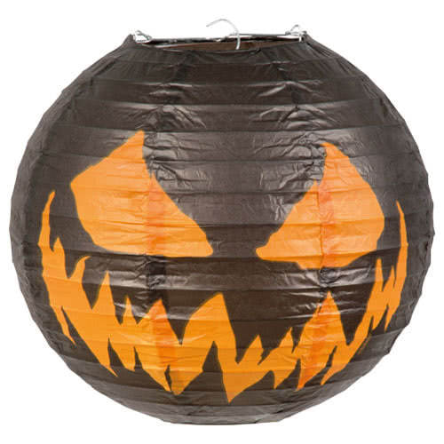 Halloween Creepy Pumpkin Paper Lantern With Wire Frame 25cm