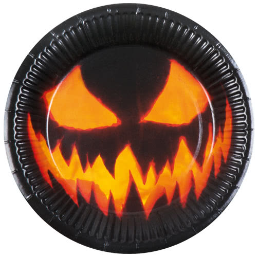Halloween Creepy Pumpkin Paper Plates 23cm - Pack of 6