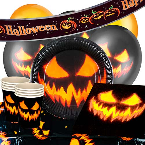 Halloween Creepy Pumpkin 12 Person Deluxe Party Pack