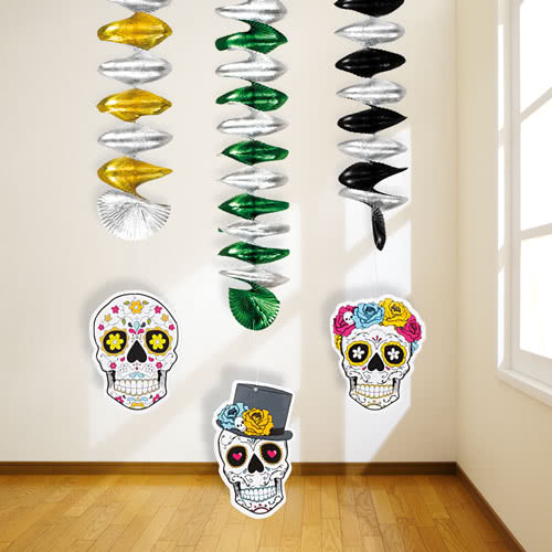 Halloween Day Of The Dead Hanging Spiral Decorations - Pack of 3