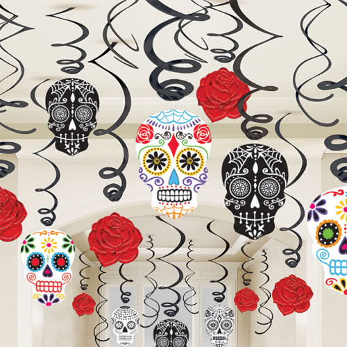Halloween Day Of The Dead Hanging Swirl Decorations - Pack of 30