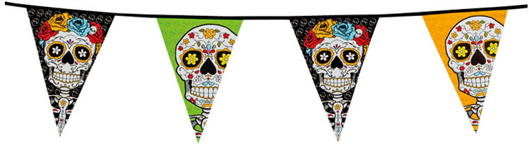 Halloween Day Of The Dead Plastic Pennant Bunting 10m