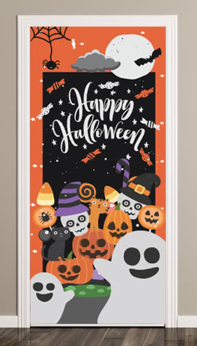 Happy Spooky Halloween Door Cover PVC Party Sign Decoration 66cm x 152cm