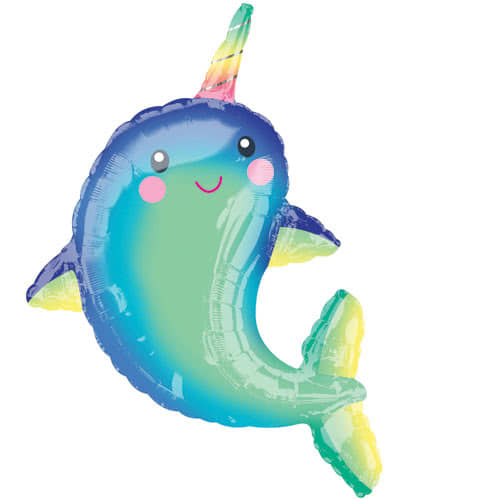 Happy Narwhal Supershape Helium Foil Balloon 99cm / 39Inch Product Image
