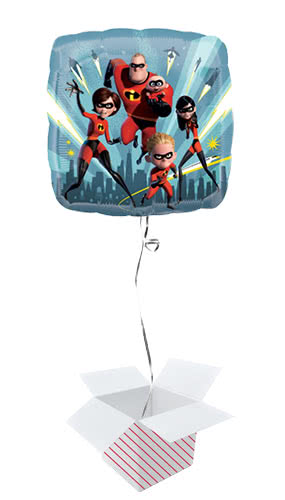 Incredibles 2 Square Foil Helium Balloon - Inflated Balloon in a Box
