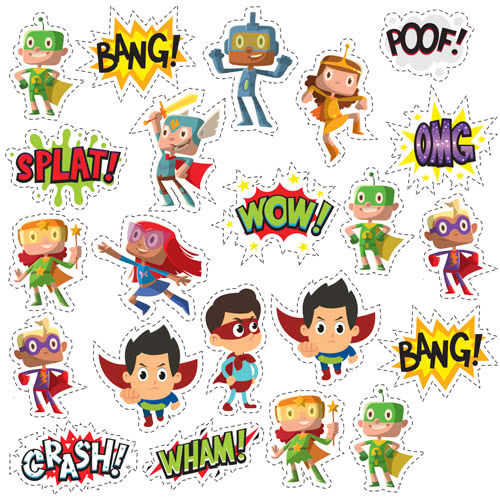 Kids Superhero Capes Cutting Sheet PVC Party Sign Decoration 133cm x 133cm