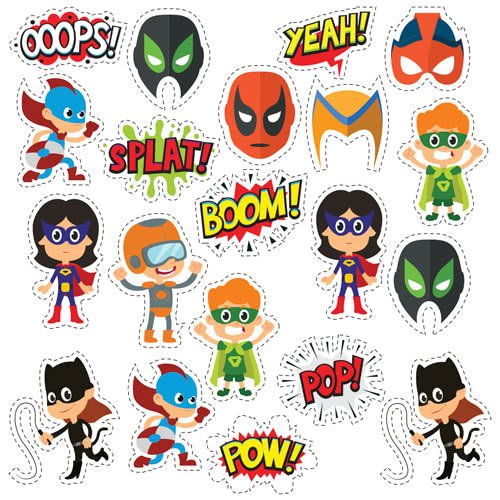 Kids Superhero Masks Cutting Sheet PVC Party Sign Decoration 133cm x 133cm