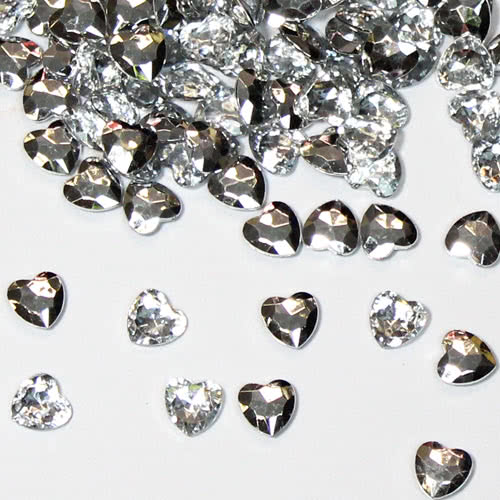 Silver 12mm Heart Diamonds Premium Table Gems 28g