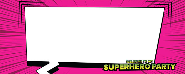 Superhero Party Hot Pink Design Small Personalised Banner - 4ft x 2ft