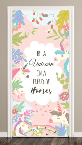 unicorn-in-field-of-horses-pink-rainbow-door-cover-pvc-party-sign-decoration-product-image