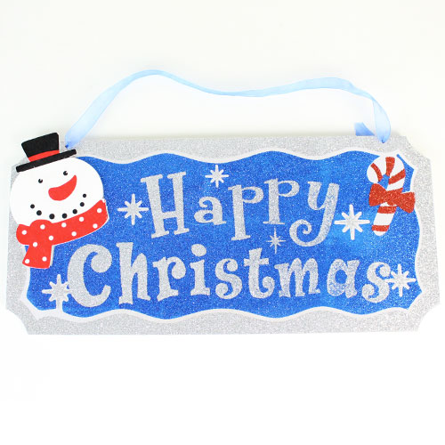Assorted Glitter Finish Christmas Plaque Hanging Decoration 35cm Product Gallery Image