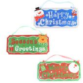 Assorted Glitter Finish Christmas Plaque Hanging Decoration 35cm