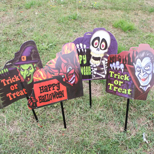 Assorted Halloween Printed Garden Stake Lawn Sign 63cm Product Gallery Image
