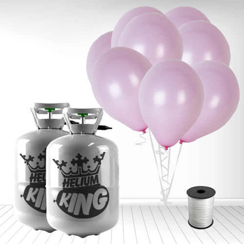 Disposable Helium Gas Cylinders with 60 Pastel Baby Pink Balloons and Curling Ribbon Product Image