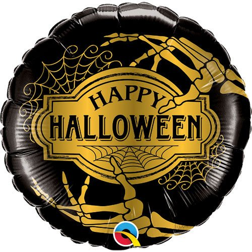 Golden Skeleton Halloween Round Foil Helium Qualatex Balloon 46cm / 18Inch Product Image