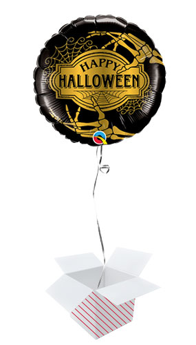 Golden Skeleton Halloween Round Foil Helium Qualatex Balloon - Inflated Qualatex Balloon in a Box