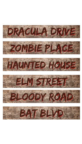 Halloween Street PVC Party Sign Decorations 60cm x 10cm – Pack of 6