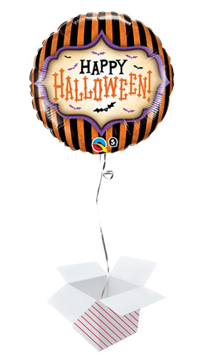 Halloween Stripes Round Foil Helium Qualatex Balloon - Inflated Balloon in a Box