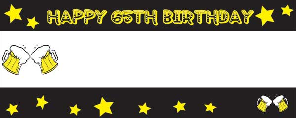 Happy 65th Birthday Beer and Stars Yellow and Black Small Personalised Banner - 4ft x 2ft