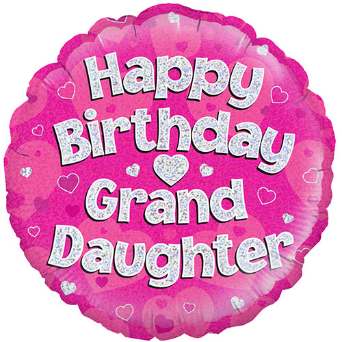 Happy Birthday Granddaughter Pink Holographic Round Foil Helium Balloon 46cm 18inch Partyrama