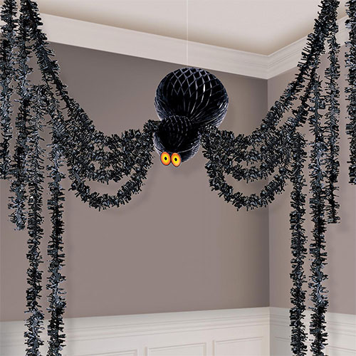 Giant Halloween Honeycomb Hanging Spider Decorating Kit 3.6m