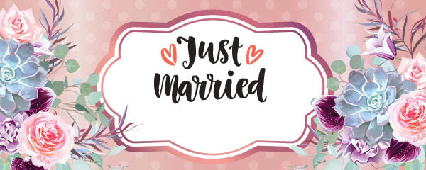 Just Married Rose Gold Design Medium Personalised Banner - 6ft x 2.25ft