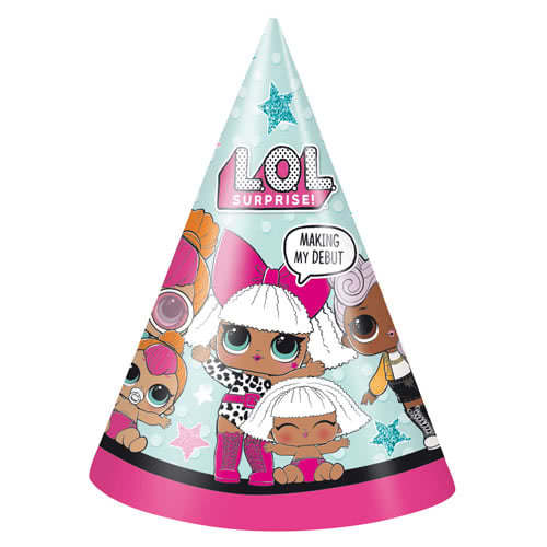 LOL Surprise Party Cone Hats - Pack of 8