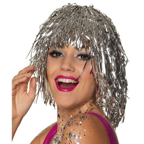 Metallic Silver Tinsel Wig