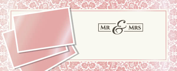 Mr & Mrs Rose Gold Design Small Personalised Banner - 4ft x 2ft