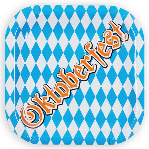 Oktoberfest Square Paper Plates 25cm - Pack of 6