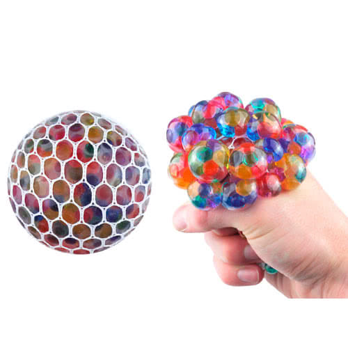 Stress Relief Squishy Squeeze Ball Mesh Toy With Beads 7cm