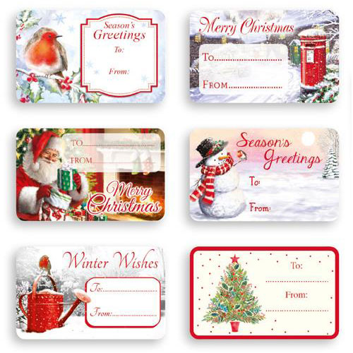 Christmas Gift Tags.Traditional Self Adhesive Christmas Gift Labels Pack Of 150