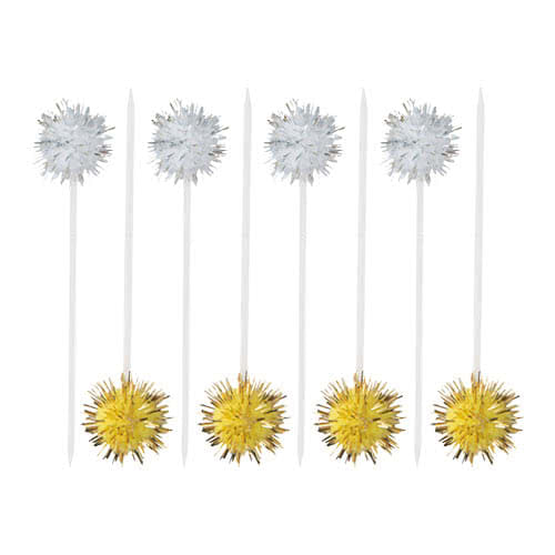 Silver And Gold Puff Food Cocktail Picks - Pack of 8