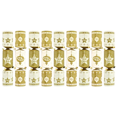 Gold And Cream Cube Christmas Crackers - Pack of 9 Product Image