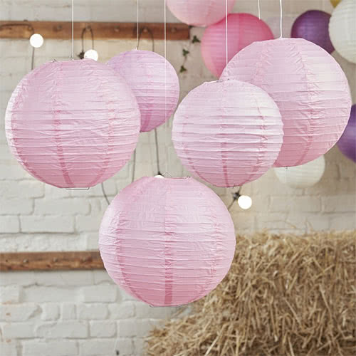 Baby Pink Paper Lantern Decorations - Pack of 5 Product Image