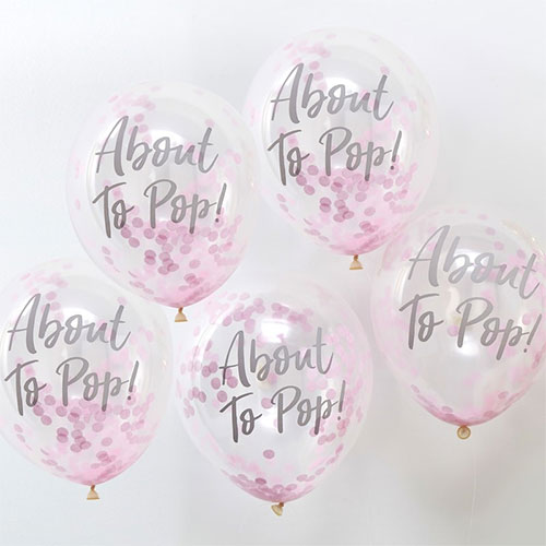 dd1d1a098 Baby Shower About To Pop Printed Latex Balloons With Pink Confetti ...