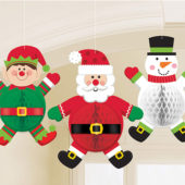 Christmas Characters Honeycomb Hanging Decorations 35cm – Pack of 3