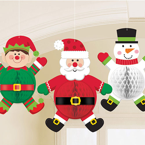 Christmas Characters Honeycomb Hanging Decorations 35cm - Pack of 3
