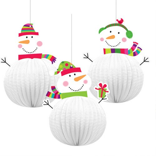 Christmas Joyful Snowmen 3D Hanging Decorations 20cm - Pack of 3