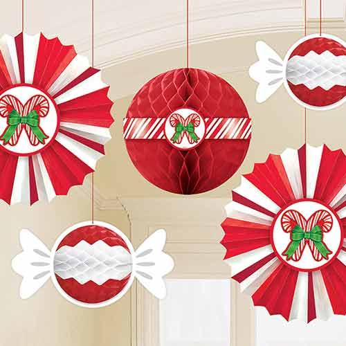 Christmas Peppermint Honeycomb And Fan Hanging Decorations - Pack of 5