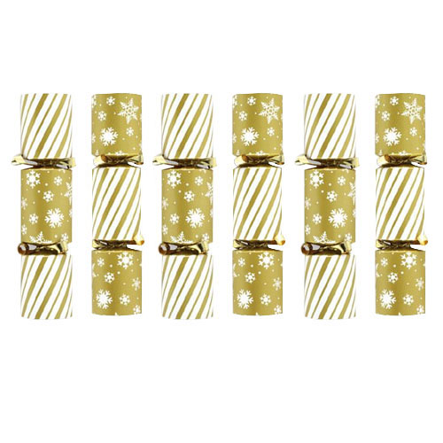 Mini Gold Christmas Crackers - Pack of 6