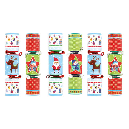 Assorted Novelty Mini Christmas Crackers - Pack of 6
