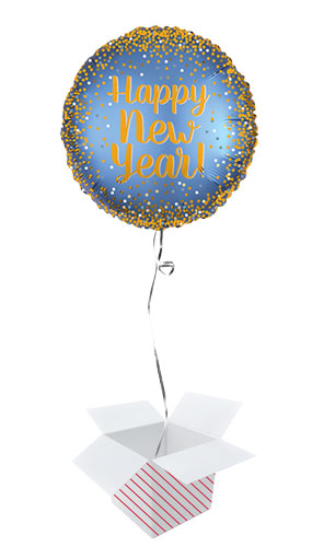 Gold And Satin Luxe New Year Round Foil Helium Balloon - Inflated Balloon in a Box