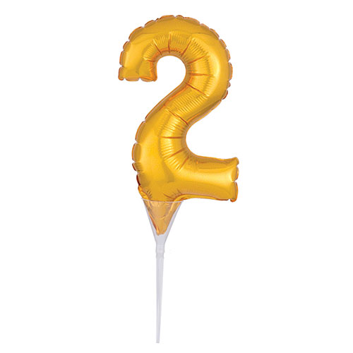 Gold Number 2 Air Fill Foil Balloon Cake Pick 30cm / 12Inch
